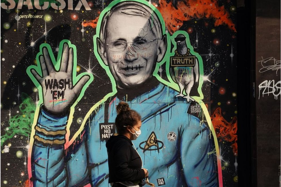 Une peinture murale du Dr Fauci, devenu un nom familier au milieu de la pandémie
