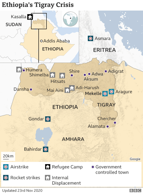 Map of Tigray region