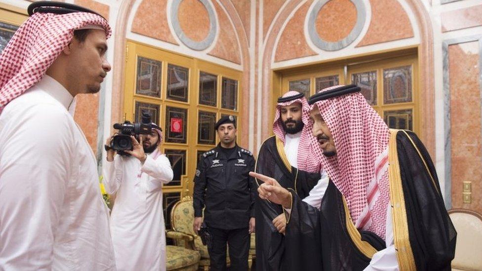Jamal Khashoggi's son Salah (L) meets Saudi Arabia's King Salman (R) and Crown Prince Mohammed bin Salman (2nd R) in Riyadh on 23 October 2018