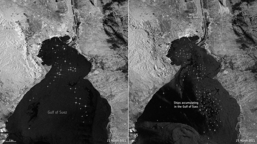 117727497 mediaitem117727496 - Canal de Suez: las impresionantes imágenes satelitales del impacto del bloqueo causado por el Ever Given