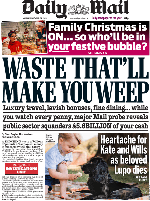 The Daily Mail front page 23 November