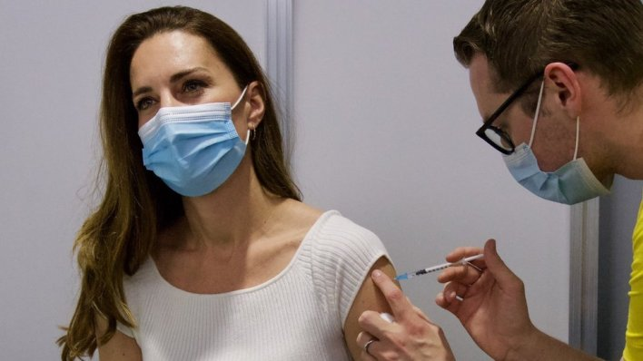 The Duchess of Cambridge getting the first dose of a coronavirus vaccine