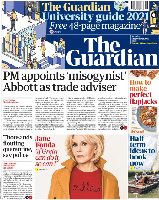 The Guardian front page 5 September 2020