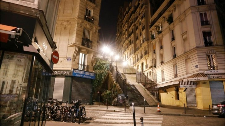 Paris streets shown empty during the curfew