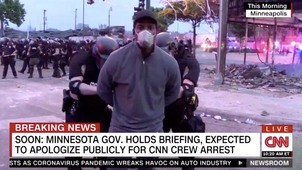 trump Members of a CNN crew are arrested at a protest