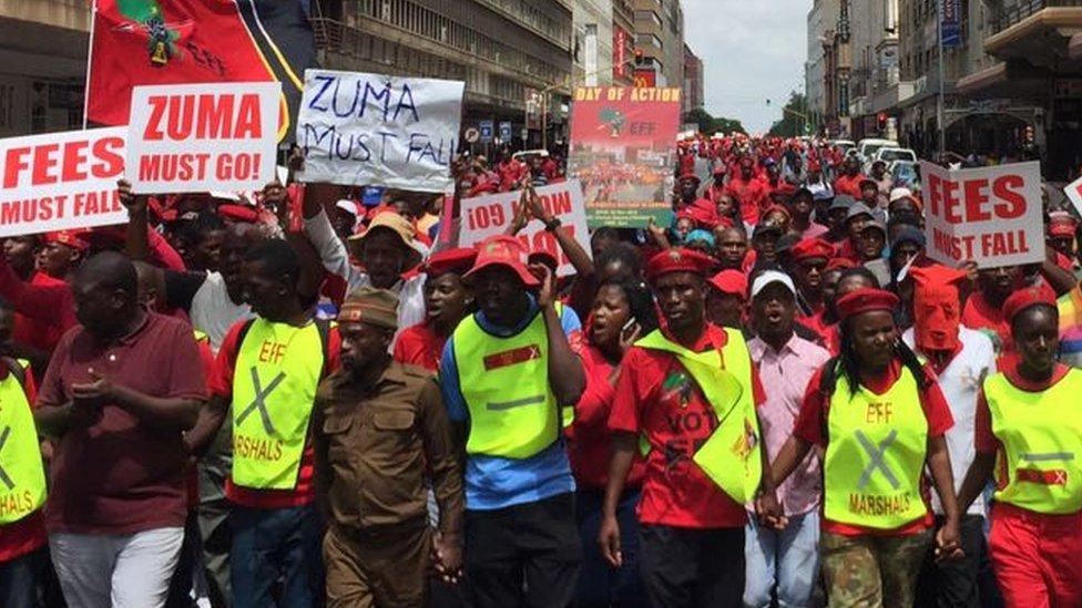 Anti-Zuma marchers in Pretoria, South Africa