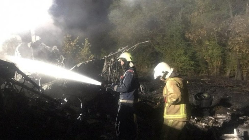 Firefighters fight a blaze at the crash site near Kharkiv, Ukraine. Photo: 25 September 2020