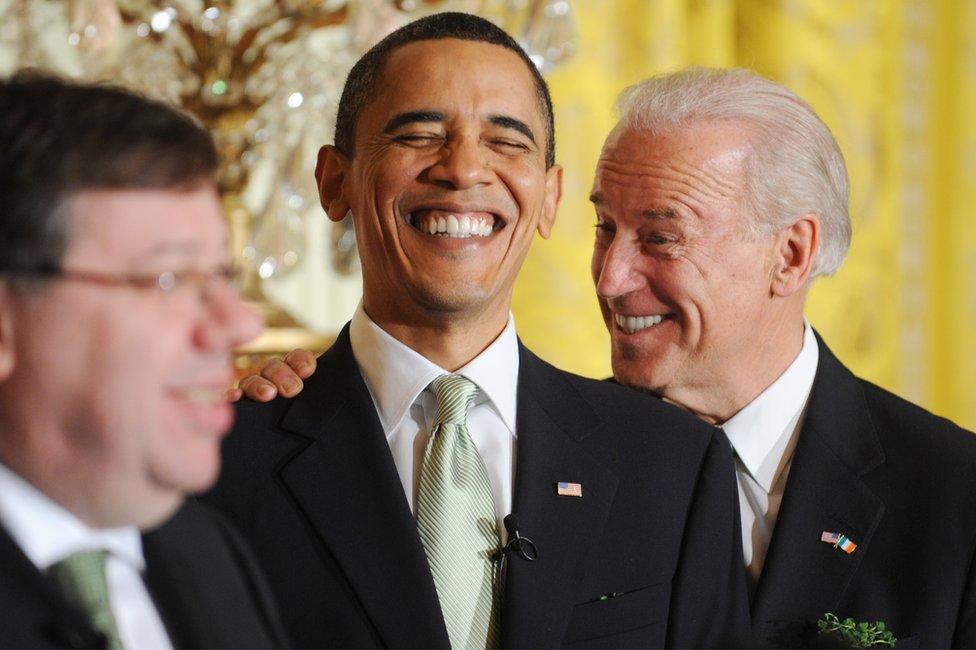 President Barack Obama and Vice President Joe Biden laugh together