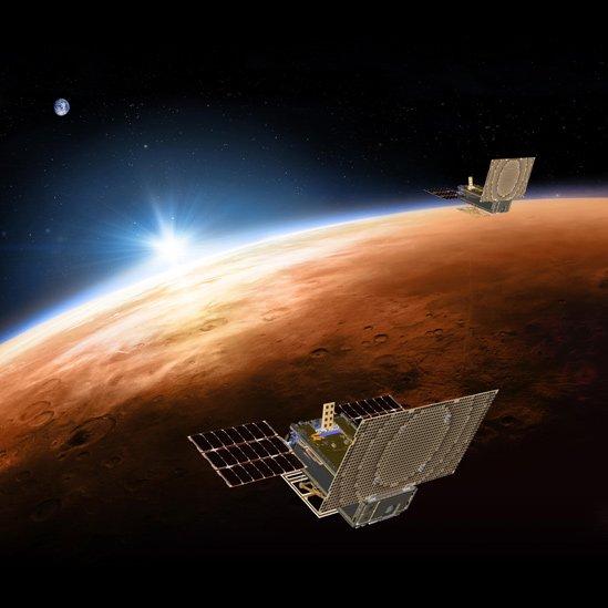 Ilustración de Mars Cube One volando sobre Marte