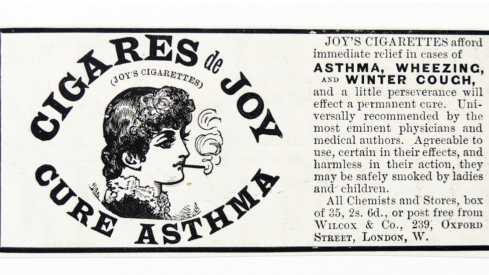 Advertising of cigarettes for asthma.