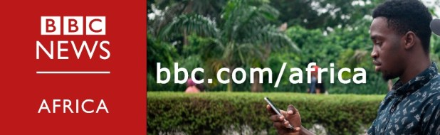 A composite image featuring the BBC Africa logo and a man reading on his smartphone.
