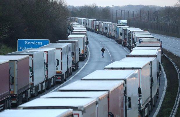 Lorries queuing on Kent motorway