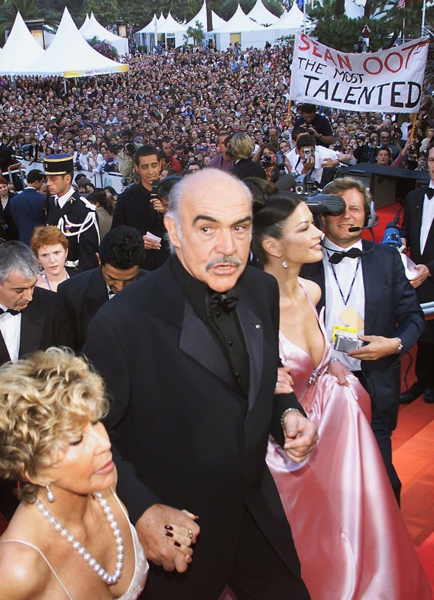 Sean Connery, wife Micheline (left) and Catherine Zeta Jones at the Cannes Film Festival in 1999