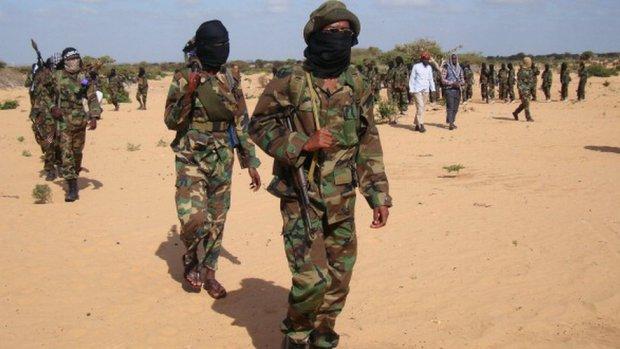 Somali Al-Shabab fighters gather on February 13, 2012 in Elasha Biyaha, in the Afgoei Corridor