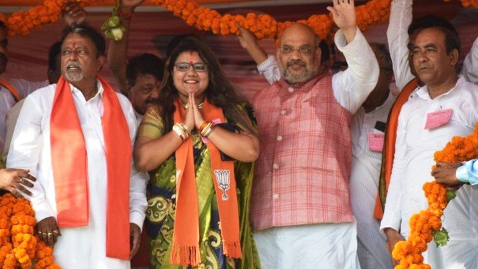 Sujata Mondol Khan with BJP chief Amit Shah