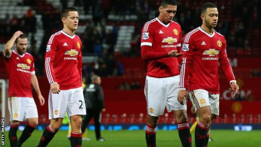 Manchester United players after the defeat to Norwich