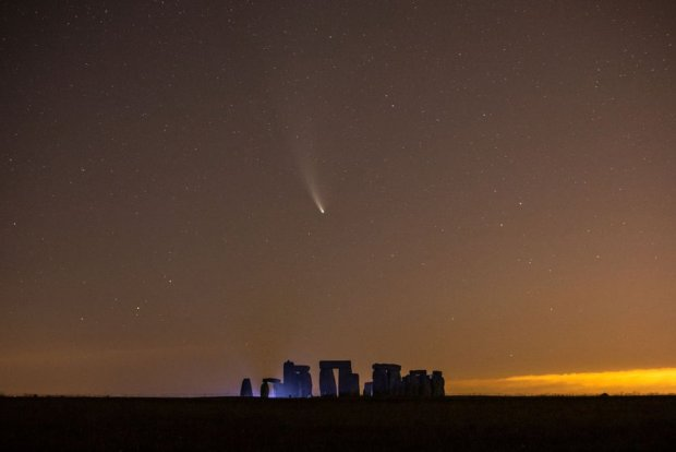 Comet NEOWISE passes over Stonehenge in the early hours of 21 July 2020 in Salisbury, England.