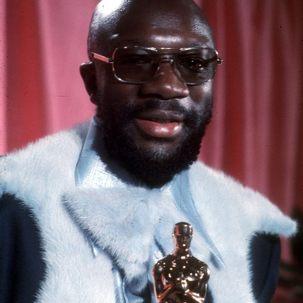 Issac Hayes with his Oscar
