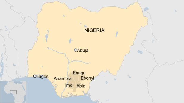 A map showing the Igbo states in Nigeria