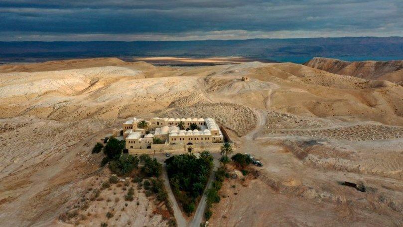 Photographie aérienne du site de Nabi Musa en Cisjordanie