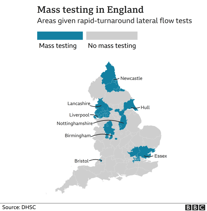 Map of areas having mass testing in England