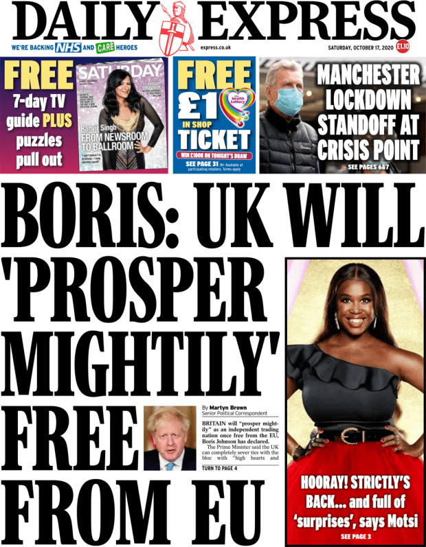 The Daily Express front page 17 October 2020