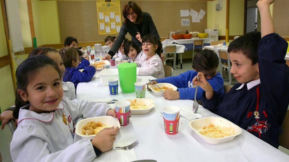 Niños italianos comiendo en clase