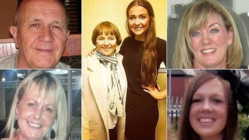 (Clockwise from top left) Jack Sweeney, Lorraine Sweeney, Erin McQuade, Jacqueline Morton, Stephenie Tait and Gillian Ewing were killed in the crash