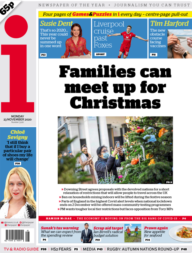 The i front page 23 November