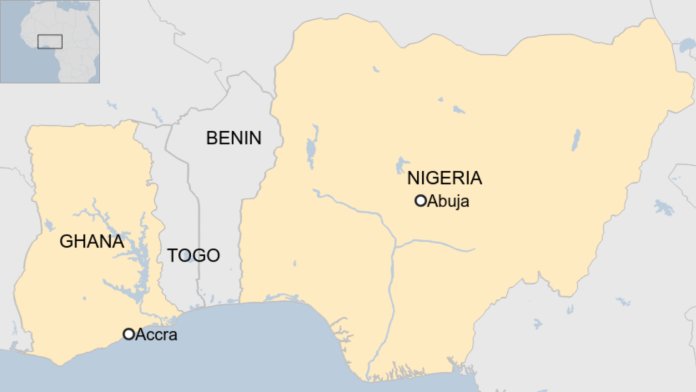 Map showing Ghana and Nigeria