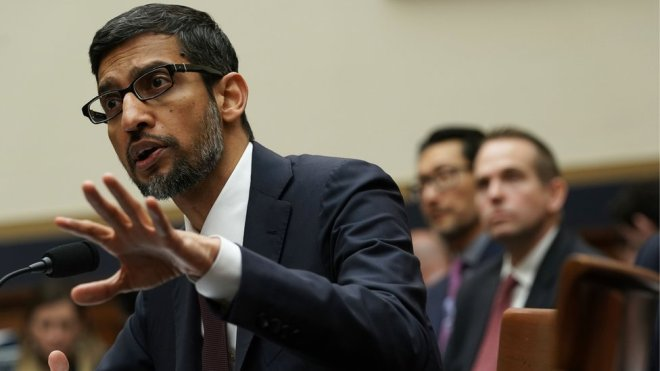"""Alphabet boss Sundar Pichai at a 2018 hearing in Washington. In July, he assured Congress, """"We conduct ourselves to the highest standard""""."""