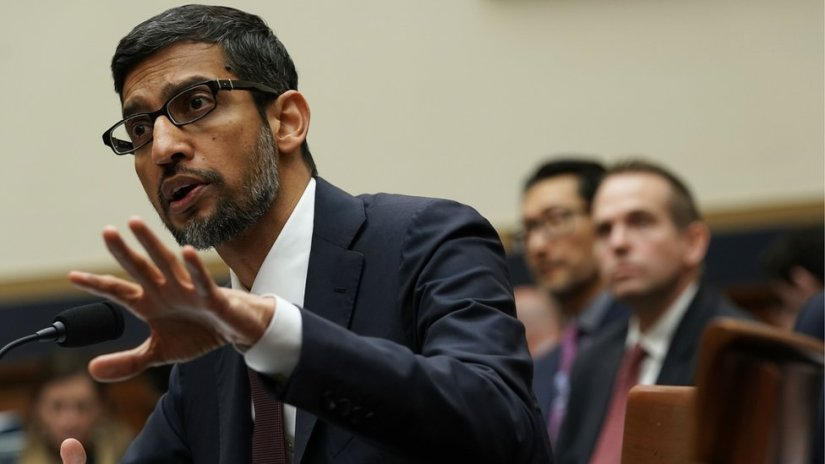 "Alphabet boss Sundar Pichai at a 2018 hearing in Washington. In July, he assured Congress, ""We conduct ourselves to the highest standard""."