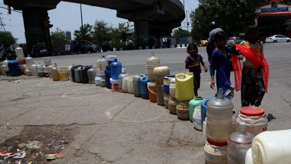 Water crisis in New Delhi, India.