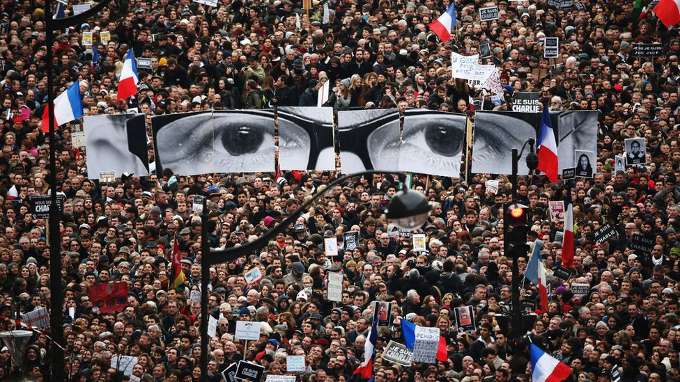 Demonstrators make their way along Boulevrd Voltaire in a unity rally in Paris following the terrorist attacks in January 2015