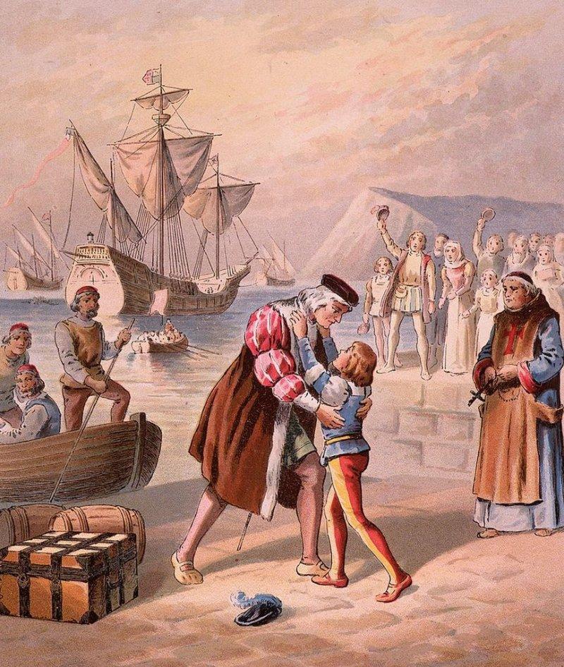 Ilustración de Cristóbal Colón con su hijo Diego.