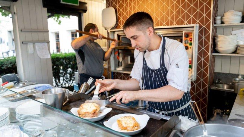 Man cooking in restaurant
