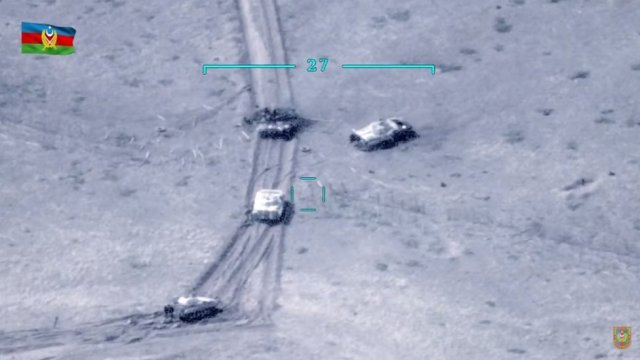 Tanks seen in an aerial photo