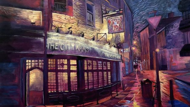 Carl's painting of the City Arms pub in Cardiff