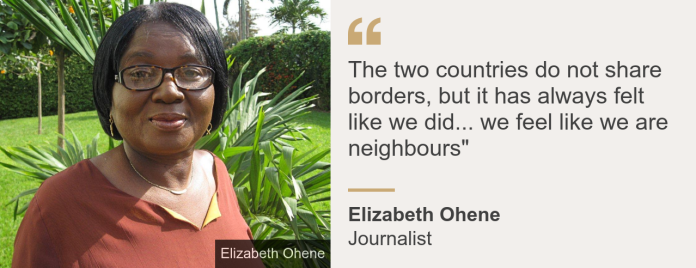 """Quote card. Elizabeth Ohene: """"The two countries do not share borders, but it has always felt like we did... we feel like we are neighbours"""""""