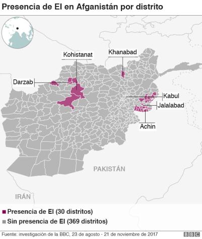 Mapa presencia del Estado Islámico.