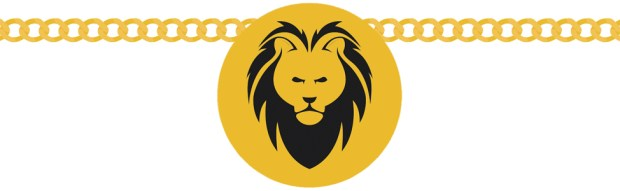 An illustration of a lion's head necklace