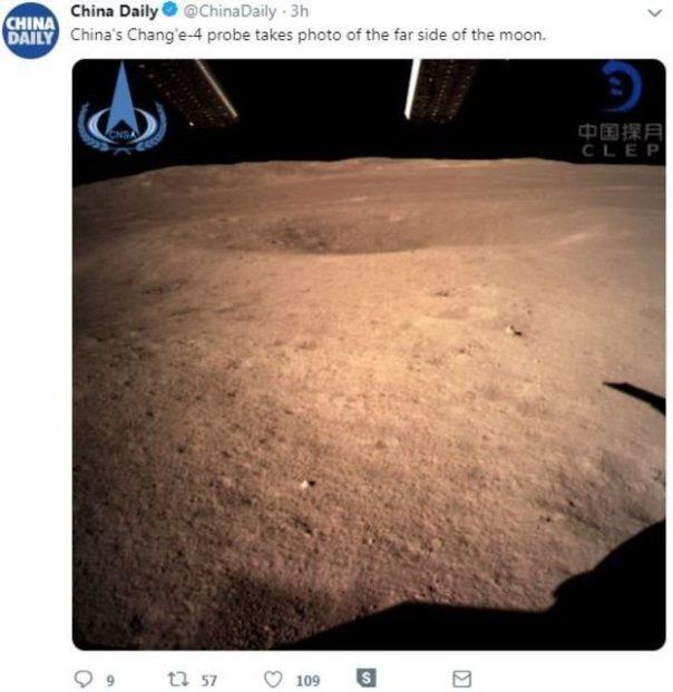 Mensaje en redes sociales en China con una imagen del lado oculto de la Luna enviada por Chang'e 4