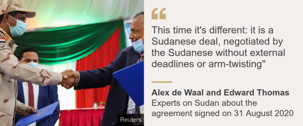 "Quote card: Alex de Waal and Edward Thomas: ""This time it's different: it is a Sudanese deal, negotiated by the Sudanese without external deadlines or arm-twisting"""