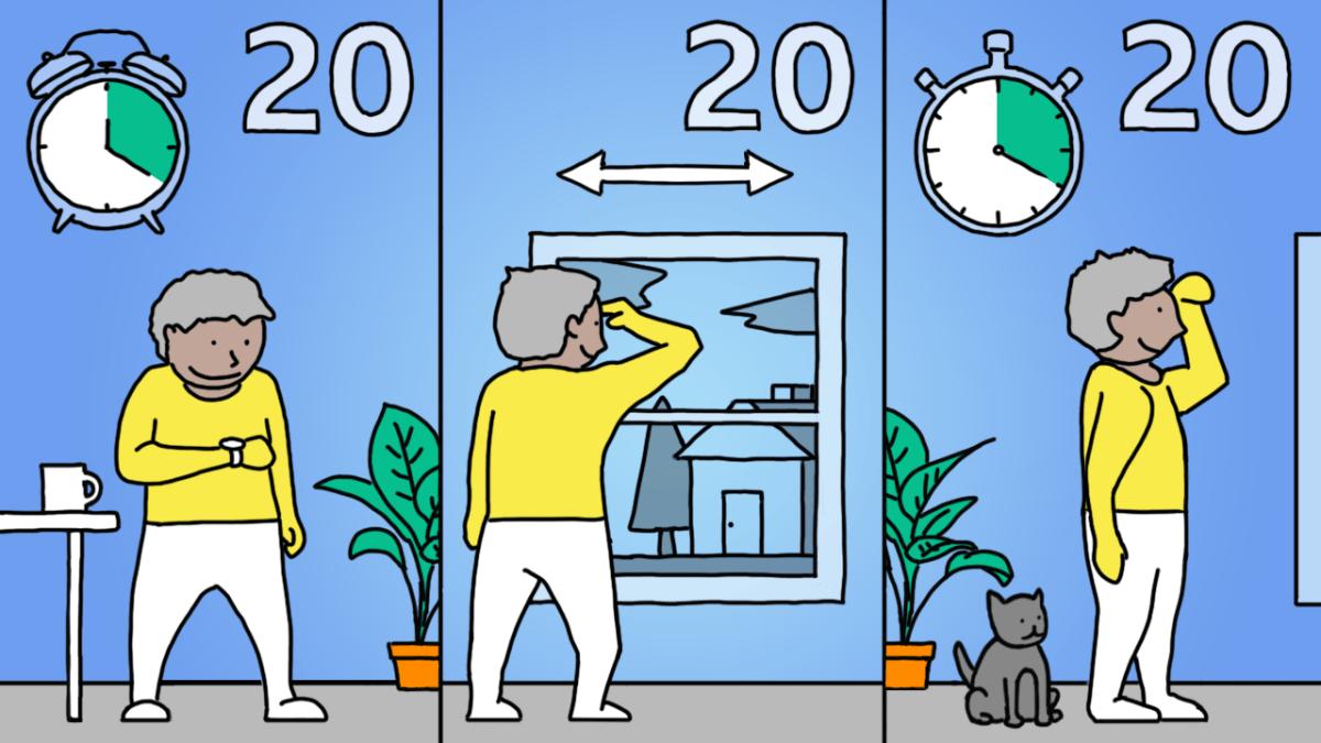 Ilustración de la regla 20-20-20.