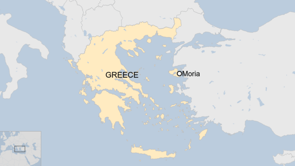 Map showing Moria camp in Greece