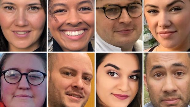 Composite picture of eight entrepreneurs