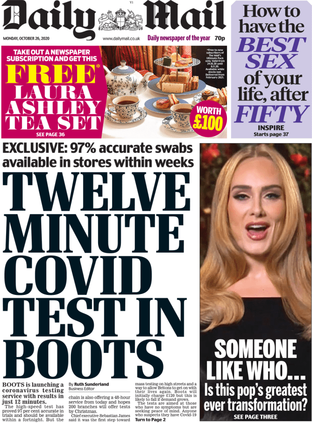 The Daily Mail front page 26 October