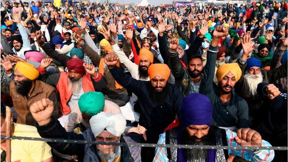 Farmers along the Delhi-Haryana border on Tuesday
