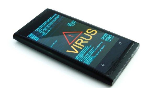 Un teléfono muestra un virus.