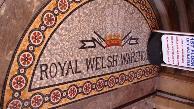 The Royal Welsh Warehouse has detail commemorating Queen Victoria and Pryce-Jones' success at exhibitions